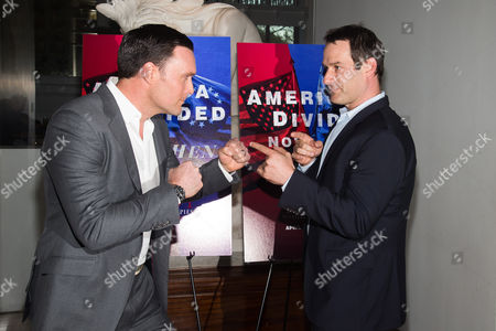 """Owain Yeoman, left, and Ian Kahn attend AMC's """"Turn: Washington's Spies"""" season three premiere event at the New York Historical Society, in New York"""