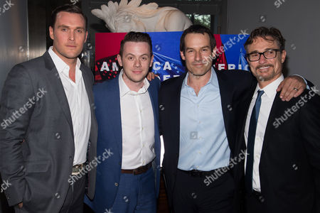 """Owain Yeoman, left, Nick Westrate, Ian Kahn and Barry Josephson attend AMC's """"Turn: Washington's Spies"""" season three premiere event at the New York Historical Society, in New York"""