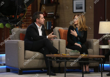 """Butterfinger Cups butt into awards season with special commentators Jason Jones, left, and Samantha Bee as they are interviewed by Steve Edwards and Maria Sansone (not pictured) on """"Good Day LA"""" on in Los Angeles. Follow their adventures at ButterfingerCups.com"""