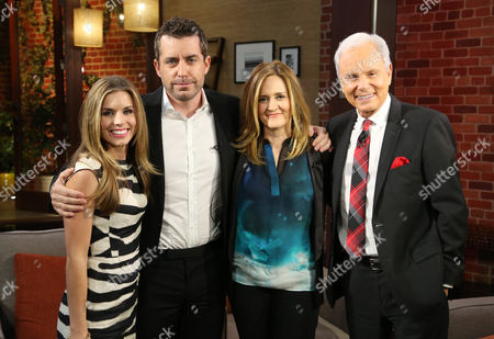 """Maria Sansone, Jason Jones, Samantha Bee and Steve Edwards, left to right, pose for a photo after Butterfinger Cups butt into awards season on """"Good Day LA"""" on in Los Angeles. Follow their adventures at ButterfingerCups.com"""