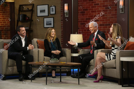 """Butterfinger Cups butt into awards season with special commentators Jason Jones and Samantha Bee as they are interviewed by Steve Edwards and Maria Sansone, left to right, on """"Good Day LA"""" on in Los Angeles. Follow their adventures at ButterfingerCups.com"""