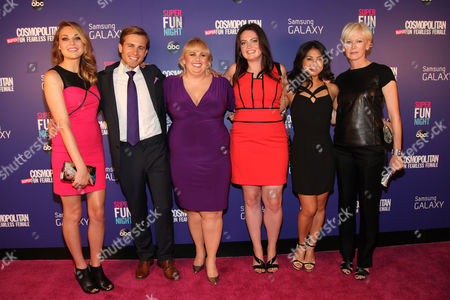 "Kate Jenkinson, Kevin Bishop, Rebel Wilson, Lauren Ash, Liza Lapira and Cosmopolitan Editor-in-Chief Joanna Coles attend the Cosmopolitan Hosts ""Super Fun Night"" Premiere at the Joseph Urban Theater at Hearst Tower on in New York"