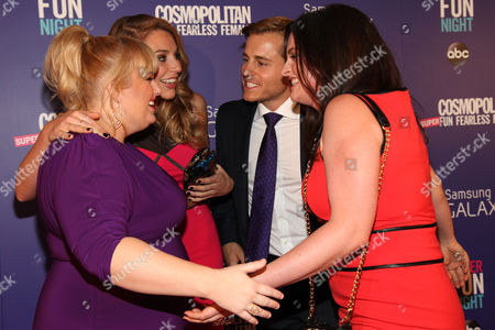 "Rebel Wilson, left, with her Super Fun Night cast members Kate Jenkinson, Kevin Bishop and Lauren Ash attend the Cosmopolitan Hosts ""Super Fun Night"" Premiere at the Joseph Urban Theater at Hearst Tower on in New York"