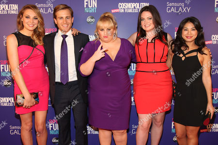 "Rebel Wilson, center, with her Super Fun Night cast members Kate Jenkinson, Kevin Bishop, Lauren Ash and Liza Lapira attend the Cosmopolitan Hosts ""Super Fun Night"" Premiere at the Joseph Urban Theater at Hearst Tower on in New York"