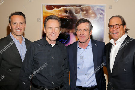 From left, GM of Crackle and EVP of Sony Pictures Digital Television Networks, Eric Berger, actors Bryan Cranston, and Dennis Quaid, and Chairman of Sony Pictures Television, Steve Mosko, are seen at the Crackle Upfront at New York City Center on in New York