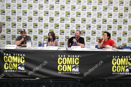 "Director Joaquim Dos Santos, Director Lauren Montgomery, Writer Tim Hedrick and Steven Yeun seen at DreamWorks Animation ""Voltron"" Panel at 2016 Comic-Con, in San Diego, Calif"