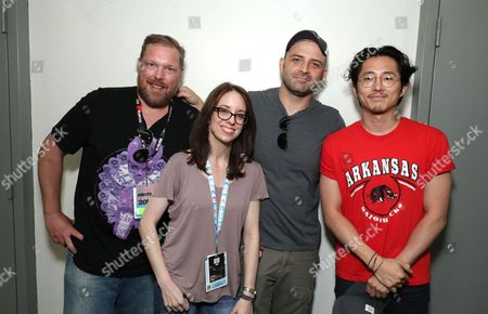 "Writer Tim Hedrick, Director Lauren Montgomery, Director Joaquim Dos Santos and Steven Yeun seen at DreamWorks Animation ""Voltron"" Panel at 2016 Comic-Con, in San Diego, Calif"
