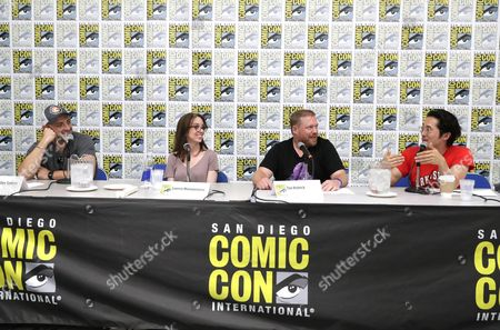 "Director Joaquim Dos Santos, Director Lauren Montgomery, Writer Tim Hedrick and Steven Yeun speak at DreamWorks Animation ""Voltron"" Panel at 2016 Comic-Con, in San Diego, Calif"