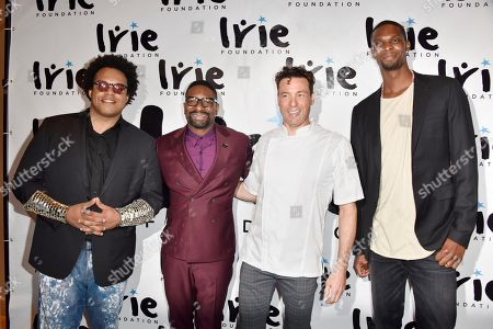 ELEW, from left, DJ IRIE, Rocco DiSpirito and Chris Bosh attend the InspIRIE Dinner Gala at the Sherborne Wyndham Grand South Beach, in Miami Beach, Fla