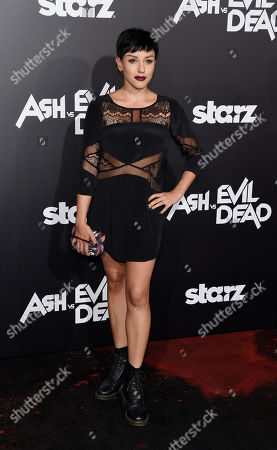 """Actress Raychel Weiner poses at the premiere of the Starz television series """"Ash vs Evil Dead"""", in Los Angeles"""