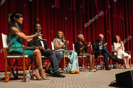 "Shaun Robinson and from left, Blair Underwood, Vanessa Williams, Cicely Tyson, Michael Wilson and Hallie Foote participate in a panel at the Lifetime screening of ""The Trip to Bountiful"" at the Leonard H. Goldenson Theatre, in the NoHo Arts District of Los Angeles"