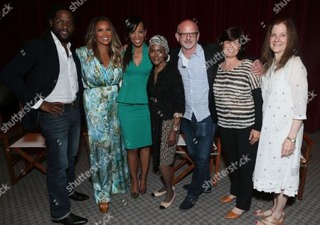 "Blair Underwood and from left, Vanessa Williams, Shaun Robinson, Cicely Tyson, Michael Wilson, Tanya Lopez, SVP, Original Programming, Lifetime, and Hallie Foote attend the Lifetime screening of ""The Trip to Bountiful"" at the Leonard H. Goldenson Theatre, in the NoHo Arts District of Los Angeles"