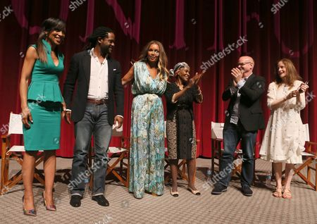 """Shaun Robinson and from left, Blair Underwood, Vanessa Williams, Cicely Tyson, Michael Wilson and Hallie Foote participate in a panel at the Lifetime screening of """"The Trip to Bountiful"""" at the Leonard H. Goldenson Theatre, in the NoHo Arts District of Los Angeles"""