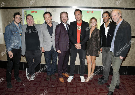 "Christopher Mintz-Plasse, Exec. Producer Peter Principato, Exec. Producer Mitch Hurwitz, David Sullivan, Creator/Exec. Producer/Star Will Arnett, Ruth Kearney, Exec. Producer Ben Silverman and Creator Mark Chappell seen at Netflix original series ""Flaked"" Special Screening, in Santa Monica, CA"