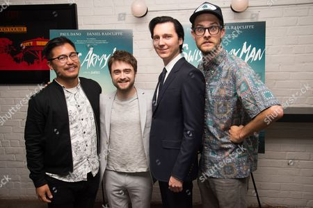 "Daniel Kwan, left, Daniel Radcliffe, Paul Dano and Daniel Scheinert attend the premiere of ""Swiss Army Man"" at Metrograph, in New York"
