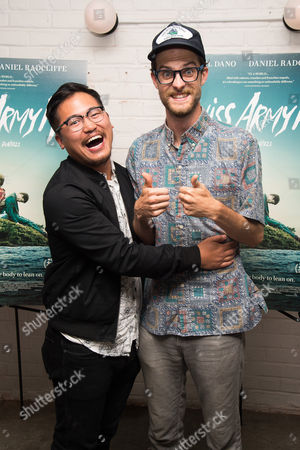 "Daniel Kwan, left, and Daniel Scheinert attend the premiere of ""Swiss Army Man"" at Metrograph, in New York"