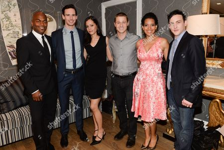 "Cast members, from left, Andrew Stewart-Jones, Cory Michael Smith, Victoria Cartagena, Ben McKenzie, Zabryna Guevara and Robin Taylor attend a special screening of ""Gotham"" hosted by FOX at the Crosby Street Hotel on in New York"
