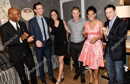 "Cast members, from left, Andrew Stewart-Jones, Cory Michael Smith, Victoria Cartagena, Ben McKenzie, Zabryna Guevara and Robin Lord Taylor attend a special screening of ""Gotham"" hosted by FOX at the Crosby Street Hotel on in New York"