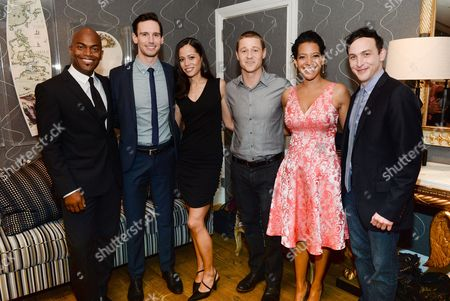 """Cast members, from left, Andrew Stewart-Jones, Cory Michael Smith, Victoria Cartagena, Ben McKenzie, Zabryna Guevara and Robin Taylor attend a special screening of """"Gotham"""" hosted by FOX at the Crosby Street Hotel on in New York"""