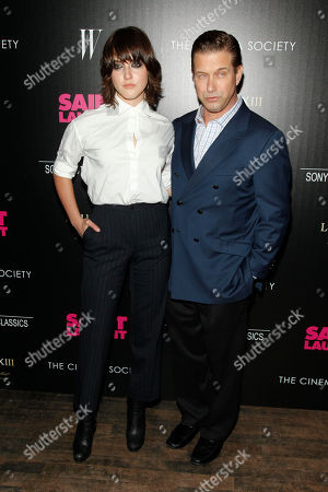 "Alaia Baldwin, left, and Stephen Baldwin, right, attend a special screening of ""Saint Laurent"", hosted by The Cinema Society, at Tribeca Grand Hotel, in New York"