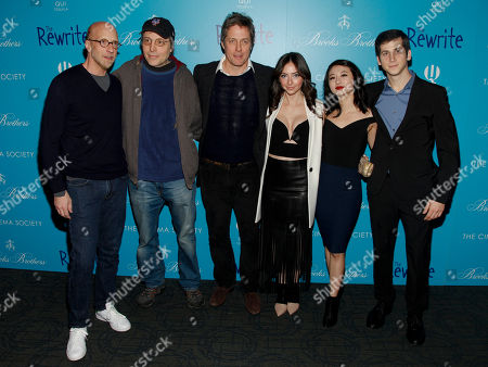 "Stock Image of Chris Elliott, from left, Marc Lawrence, Hugh Grant, Emily Morden, Annie Q and Steven Kaplan attend a screening of ""The Rewrite"" at Landmark Sunshine Cinema, in New York"