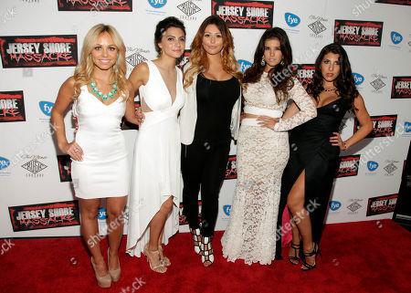 """From left, Christina Scaglione, Danielle Dallacco, Jennifer Farley, Angelica Boccella and Nicole Rutigliano attends the premiere of """"Jersey Shore Massacre"""" on in New York"""