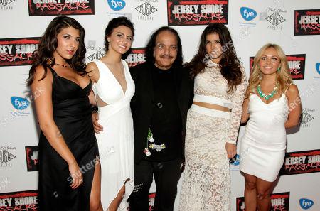 """From left, Nicole Rutigliano, Danielle Dallacco, Ron Jeremy, Angelica Boccella and Christina Scaglione attend the premiere of """"Jersey Shore Massacre"""" on in New York"""