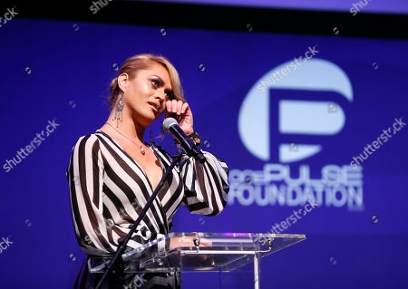Sasha Colby speaks at onePULSE: A Benefit for Orlando at NeueHouse Hollywood, in Los Angeles