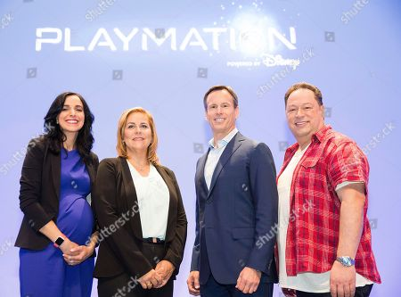 Executives from The Walt Disney Company (left to right: Afsoun Yazdian, director of user experience & product management, Disney Consumer Products, Leslie Ferraro, president, Disney Consumer Products, Tom Staggs, COO of The Walt Disney Company, and Joe Quesada, chief creative officer, Marvel Entertainment) on stage at the announcement of Disney's Playmation on in Hollywood, Calif. From Disney Consumer Products, Playmation is the next step in the evolution of play for today's digital generation and will launch at domestic retailers in October of this year