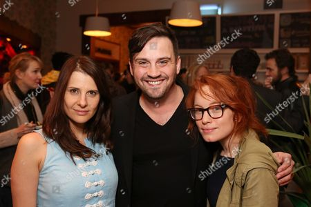 """From left, actress Mia Barron, Playwright Daniel Talbott and Maria Thayer pose during a reception for New York's Rattlestick Playwrights Theater to celebrate its upcoming Los Angeles production of Daniel Talbott's """"Slipping"""" held at the Beachwood Cafe on in Los Angeles, Calif"""