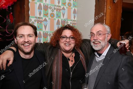 """From left, Matt Shakman, Artistic Director of Black Dahlia; Jessica Kubzansky, Artistic Producer of Boston Court and David Van Asselt, Rattlestick Artistic Director pose during a reception for New York's Rattlestick Playwrights Theater to celebrate its upcoming Los Angeles production of Daniel Talbott's """"Slipping"""" held at the Beachwood Cafe on in Los Angeles, Calif"""