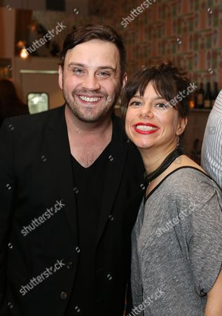 """Stock Picture of From left, Playwright Daniel Talbott and playwright Sheila Callaghan pose during a reception for New York's Rattlestick Playwrights Theater to celebrate its upcoming Los Angeles production of Daniel Talbott's """"Slipping"""" held at the Beachwood Cafe on in Los Angeles, Calif"""