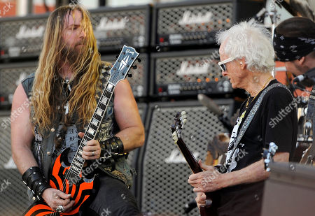 Zakk Wylde of Black Label Society, left, is joined by Robbie Krieger of The Doors during the Sunset Strip Music Festival, in West Hollywood, Calif