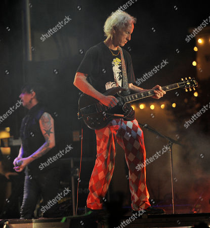Robbie Krieger of The Doors joins Marilyn Manson onstage during the Sunset Strip Music Festival, in West Hollywood, Calif