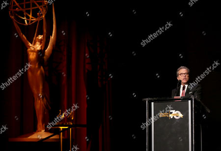 Hall of Fame Chair Rick Rosen speaks at the Television Academy's 70th Anniversary Gala and Opening Celebration for its new Saban Media Center, in the NoHo Arts District in Los Angeles