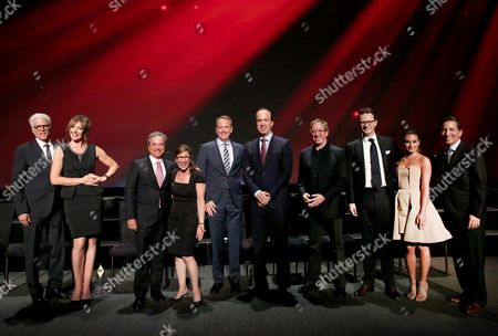 Ted Danson, from left, Allison Janney, Hall of Fame Chair Rick Rosen, CBS's Nina Tassler, NBCUniversal's Robert Greenblatt, ABC's Ben Sherwood, Tim Allen, FOX's Peter Rice, Lea Michele, and Television Academy Chairman and CEO Bruce Rosenblum pose during the presentation of the Hall of Fame Cornerstone Award to the four major broadcast networks during the Television Academy's 70th Anniversary Gala and Opening Celebration for its new Saban Media Center, in the NoHo Arts District in Los Angeles