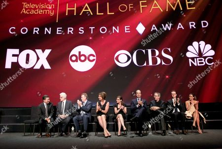 Television Academy Chairman and CEO Bruce Rosenblum, from left, Ted Danson, NBCUniversal's Robert Greenblatt, Allison Janney, CBS's Nina Tassler, ABC's Ben Sherwood, Tim Allen, FOX's Peter Rice, and Lea Michele during the presentation of the Hall of Fame Cornerstone Award to the four major broadcast networks during the Television Academy's 70th Anniversary Gala and Opening Celebration for its new Saban Media Center, in the NoHo Arts District in Los Angeles
