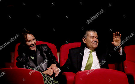 Cheryl Saban, left, and Haim Saban are acknowledged at the Television Academyâ?™s 70th Anniversary Gala and Opening Celebration for its new Saban Media Center, in the NoHo Arts District in Los Angeles