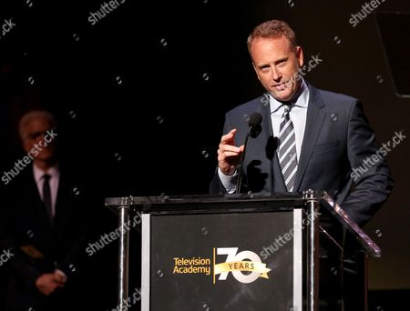NBCUniversal's Robert Greenblatt accepts the Hall of Fame Cornerstone Award at the Television Academy's 70th Anniversary Gala and Opening Celebration for its new Saban Media Center, in the NoHo Arts District in Los Angeles