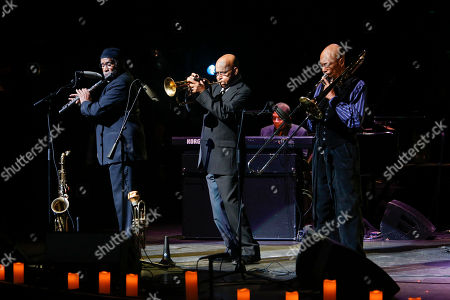 """Stock Image of Bennie Maupin, Eddie Henderson, Julian Priester performs at the 13th annual """"A Great Night in Harlem"""" gala concert, presented by The Jazz Foundation of America to benefit The Jazz Musicians Emergency Fund, at The Apollo Theater, in New York. This year's Lifetime Achievement Award honoree is musician Herbie Hancock"""