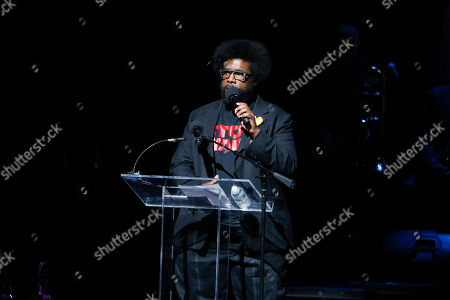 """Quest love speaks at the 13th annual """"A Great Night in Harlem"""" gala concert, presented by The Jazz Foundation of America to benefit The Jazz Musicians Emergency Fund, at The Apollo Theater, in New York. This year's Lifetime Achievement Award honoree is musician Herbie Hancock"""