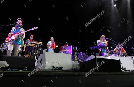 Nate Brenner, Abigail Nessen-Bengsen, Jo Lampert, Merrill Garbus and Dani Markham of Tune Yards performed in concert as part of the Arcade Fire tour at Aaron's Lakewood Amphitheatre on in Atlanta, Ga