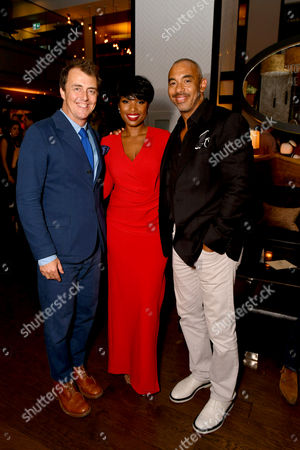 """Director/Writer Garth Jennings, Jennifer Hudson and Executive Music Producer Harvey Mason Jr. seen at Universal Pictures """"Sing"""" after party at the 2016 Toronto International Film Festival, in Toronto"""