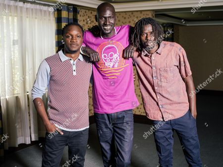 """Arnold Oceng, Ger Duany, and Emmanuel Jal pose for a portrait during press day for """"The Good Lie"""" at Le Montrose Hotel on in Los Angeles"""