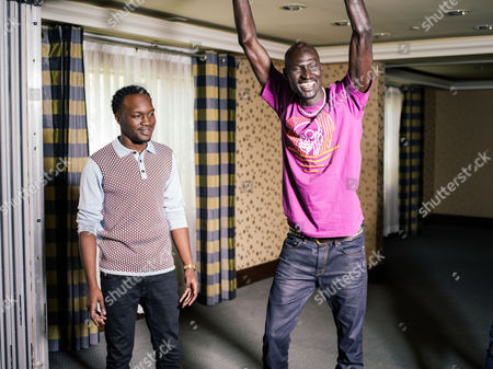 """Arnold Oceng, and Ger Duany pose for a portrait during press day for """"The Good Lie"""" at Le Montrose Hotel on in Los Angeles"""