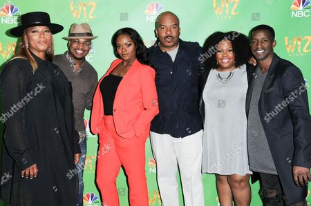 "Queen Latifah, from left, Ne-Yo, Shanice Williams, David Alan Grier, Amber Riley and Elijah Kelley attend ""The Wiz Live!"" Photo Op held at the Directors Guild of America, in Los Angeles"
