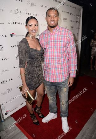 San Francisco 49ers cornerback Marcus Cromartie, right, and Trishauna Clarke seen at the 10th Annual All-Star Celebrity Kickoff Party at Le Jardin in Los Angeles on