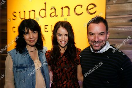 "Executive Vice President & General Manager of Sundance Channel Sarah Barnett, left, ""Rectify"" cast member Abigail Spencer, center, and Sundance Channel executive Christian Vesper, right, pose together at Sundance Channel's Annual Festival Celebration during the 2013 Sundance Film Festival on in Park City, Utah"