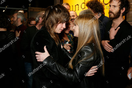 "Top of the Lake"" cast member Holly Hunter, right, and musician Georgi Kay, left, greet each other at the Sundance Channel's Annual Festival Celebration during the 2013 Sundance Film Festival on in Park City, Utah"