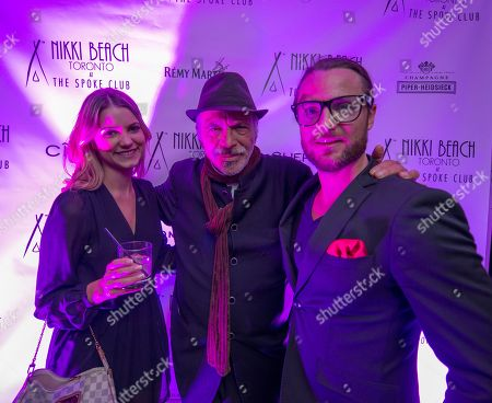 Stock Image of Tori King,left, Nick Mancuso and Joshua James seen at the Nikki Beach Pop-Up Party at The Spoke Club on Thursday,September 4th, 2014, in Toronto, Ontario